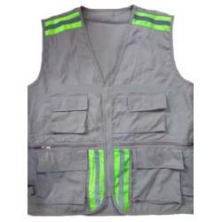 Áo ghile kỹ sư kết hợp kaki phản quang phối lưới  (vải kaki 65/35 mỏng) bao in ấn 2 màu