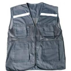 Áo ghile kỹ sư kết hợp kaki phản quang phối lưới  (vải kaki thường) bao in ấn 2 màu