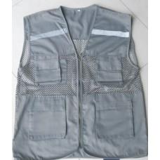 Áo ghile kỹ sư kết hợp kaki phản quang phối lưới màu xám (vải tốt) bao in ấn 2 màu